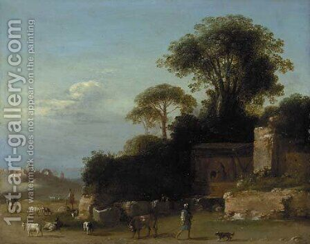 An Italianate landscape with goatherds amongst ruins by Bartholomeus Breenbergh - Reproduction Oil Painting