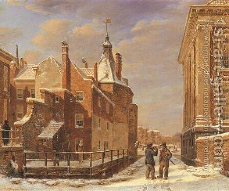 A view of the Mauritshuis and the Torentje, The Hague by Bartholomeus Johannes Van Hove - Reproduction Oil Painting