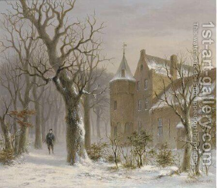Sportsman in a snowy forest by a castle by Bartholomeus Johannes Van Hove - Reproduction Oil Painting