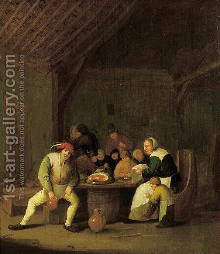 A peasant family in a barn by Bartholomeus Molenaer - Reproduction Oil Painting