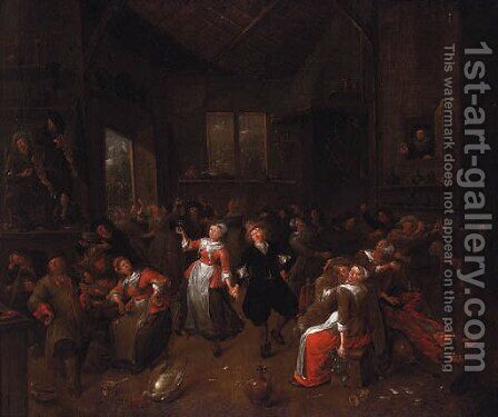 Peasants merrymaking in a barn by Bartholomeus Molenaer - Reproduction Oil Painting