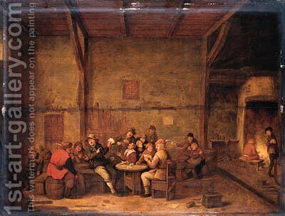 Peasants merrymaking in a tavern by Bartholomeus Molenaer - Reproduction Oil Painting