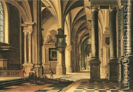 A church interior with elegant company conversing in the aisle by Bartholomeus Van Bassen - Reproduction Oil Painting
