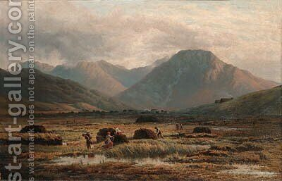 Peat Bog, Letterfrack, Connemara by Bartholomew Colles Watkins - Reproduction Oil Painting