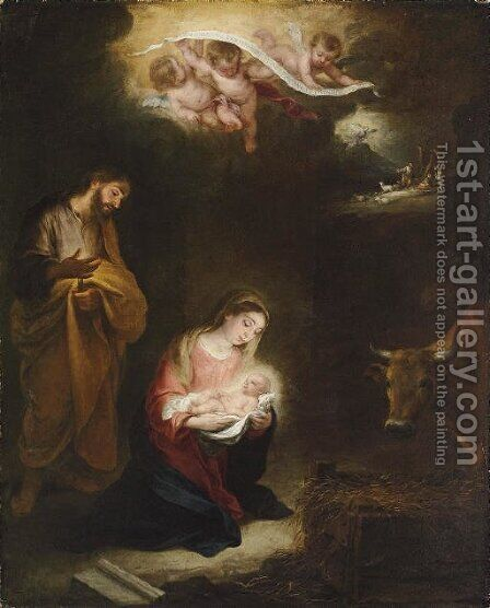 The Nativity with the Annunciation to the Shepherds beyond by Bartolome Esteban Murillo - Reproduction Oil Painting