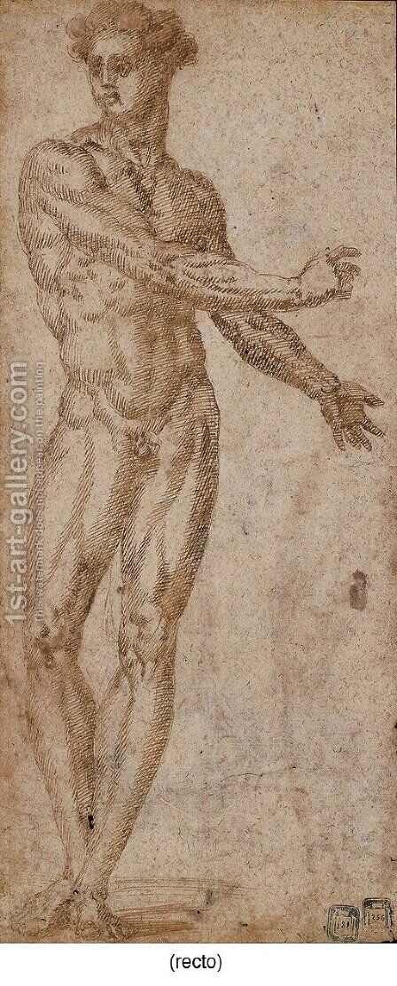 Study of a male nude by Baccio Bandinelli - Reproduction Oil Painting