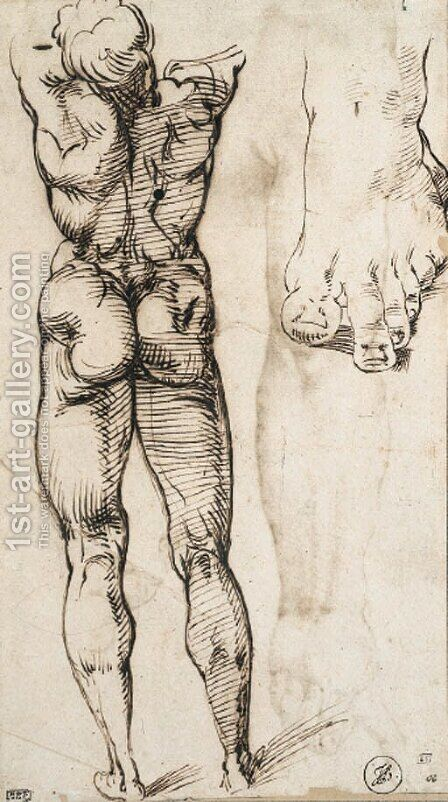 A nude seen from behind and a study of a foot by Bartolomeo Passarotti - Reproduction Oil Painting