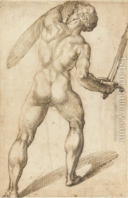 A nude seen from behind holding a sword and a shield by Bartolomeo Passarotti - Reproduction Oil Painting