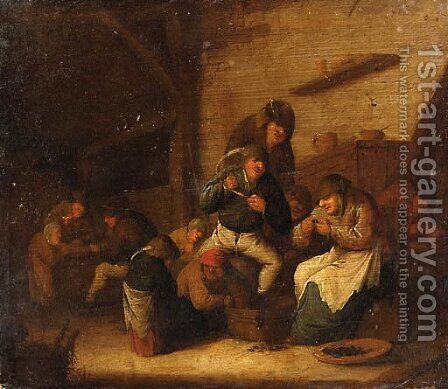 Peasants Gaming and eating Mussels in an Interior by Bartholomeus Molenaer - Reproduction Oil Painting