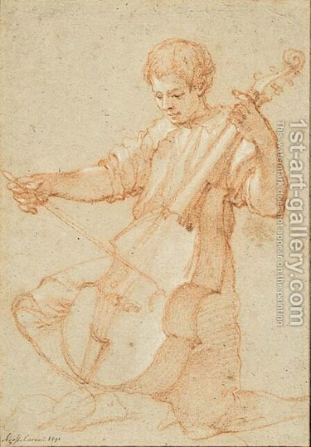 A youth playing the viola da gamba by Bartolommeo Cesi - Reproduction Oil Painting