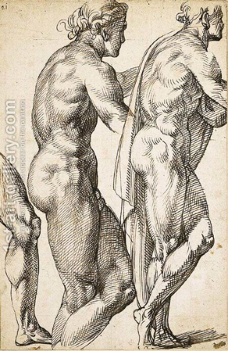 Study of a nude in profile to the right, with a subsidiary study of the same and of the leg by Bartolomeo Passarotti - Reproduction Oil Painting