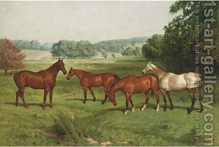 Four hunters in a parkland landscape with fallow deer beyond by Basil J. Nightingale - Reproduction Oil Painting