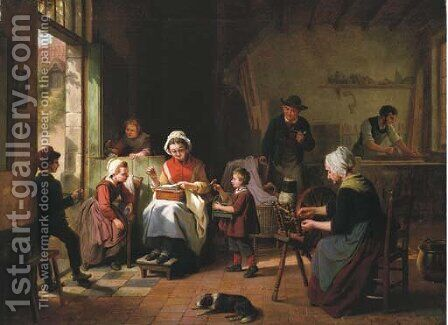 A Family at Work by Basile De Loose - Reproduction Oil Painting