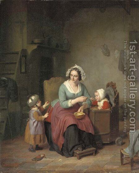 Feeding the Children by Basile De Loose - Reproduction Oil Painting