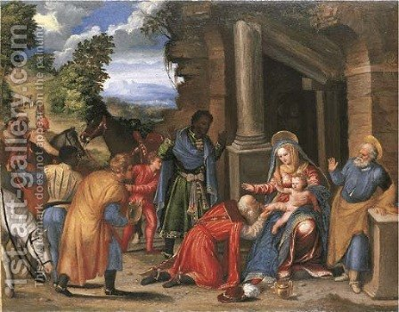 The Adoration of the Magi by Battista Dossi - Reproduction Oil Painting
