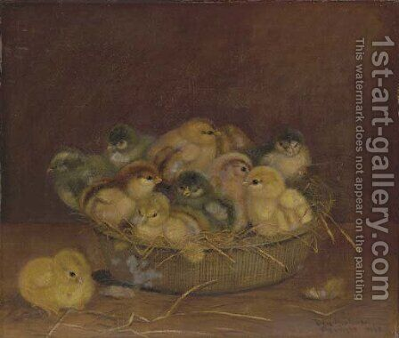 Chicks in a Basket by Ben Austrian - Reproduction Oil Painting