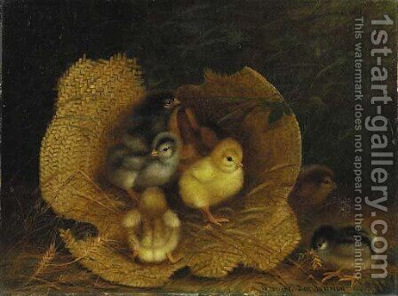 Chicks in a Straw Hat by Ben Austrian - Reproduction Oil Painting
