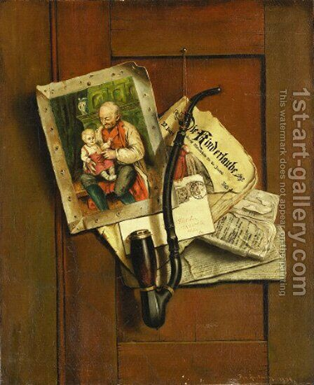 Pipe and Newspapers by Ben Austrian - Reproduction Oil Painting