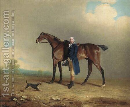 A gentleman with a bay hunter and terrier in a landscape by Ben Marshall - Reproduction Oil Painting