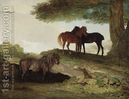 Ponies A shetland pony, and two welsh ponies beneath a tree, in a landscape by Ben Marshall - Reproduction Oil Painting