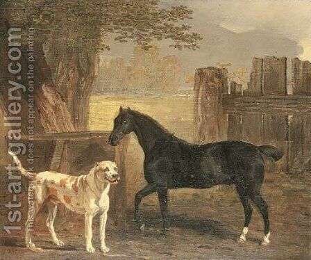Sancho, a bay pony, with Cato by Ben Marshall - Reproduction Oil Painting