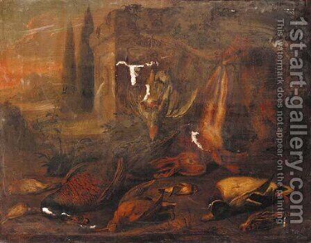 Dead game in a classical landscape by Benjamin Blake - Reproduction Oil Painting