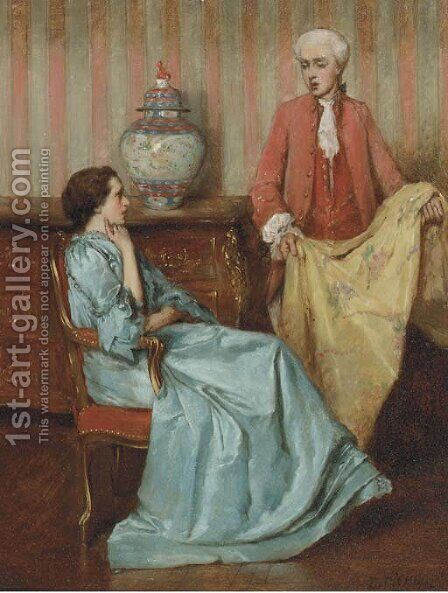 Choosing the right colour by Benjamin Eugene Fichel - Reproduction Oil Painting