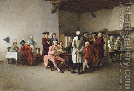The Clubroom by Benjamin Eugene Fichel - Reproduction Oil Painting