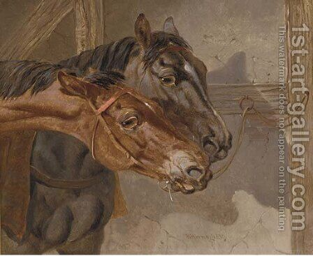 Horses tethered in a stable by Benjamin Herring, Jnr. - Reproduction Oil Painting