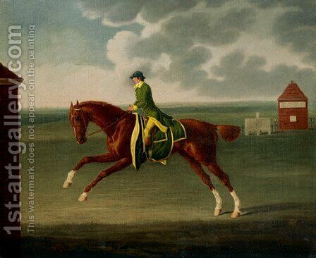 A Chestnut Racehorse with Jockey Up on Newmarket Heath by Benjamin Killingbeck - Reproduction Oil Painting