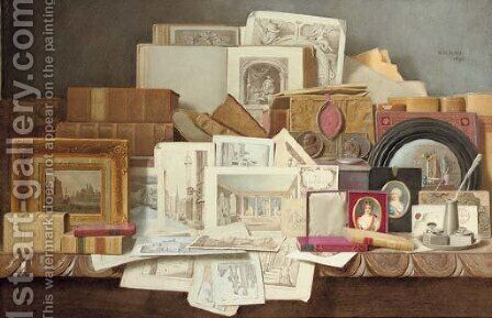 Art and Letters Still-life of books, paintings, prints and other objects by Benjamin Walter Spiers - Reproduction Oil Painting
