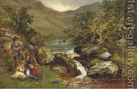 An angling party on a river bank by Benjamin Williams Leader - Reproduction Oil Painting