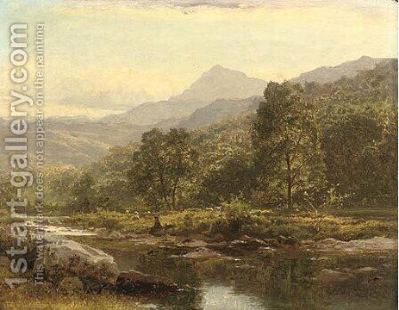 An Island on the Llugwy, Capel Curig, with an angler by Benjamin Williams Leader - Reproduction Oil Painting