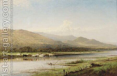 Cattle watering, Derwentwater by Benjamin Williams Leader - Reproduction Oil Painting