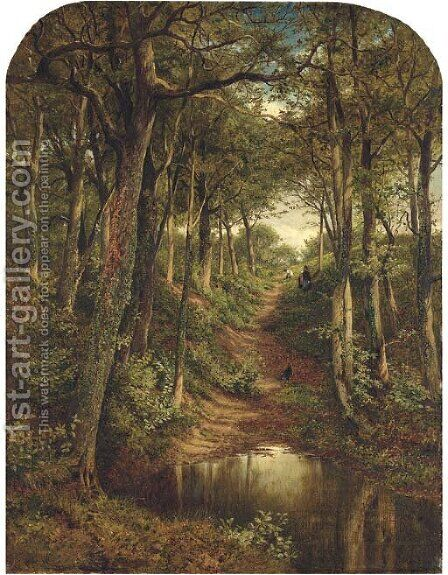 Gypsy lane, Whittington, Worcester by Benjamin Williams Leader - Reproduction Oil Painting