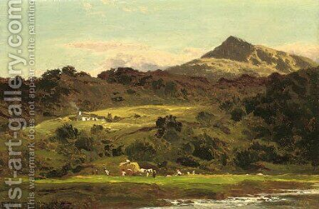 Moel Siabod from the Llugwy below Capel Curig by Benjamin Williams Leader - Reproduction Oil Painting