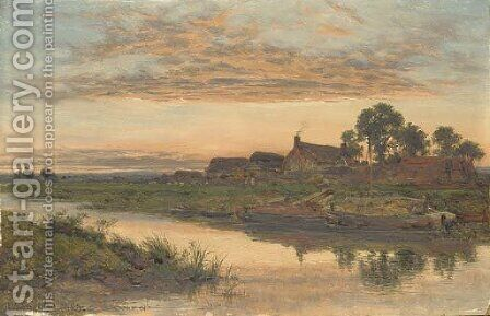 On the Severn by Benjamin Williams Leader - Reproduction Oil Painting