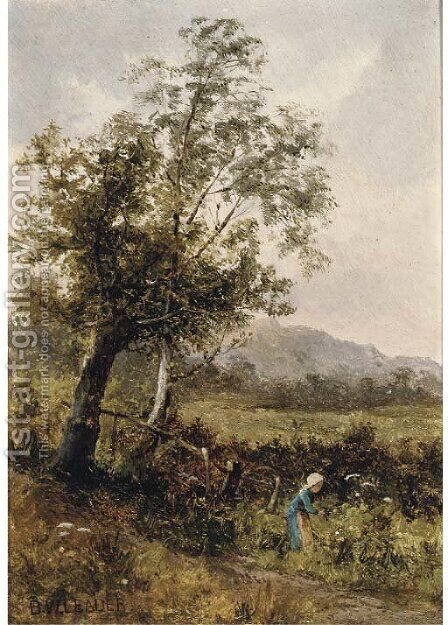Picking flowers by Benjamin Williams Leader - Reproduction Oil Painting