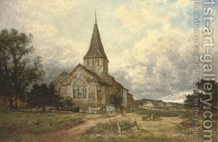 The village church by Benjamin Williams Leader - Reproduction Oil Painting