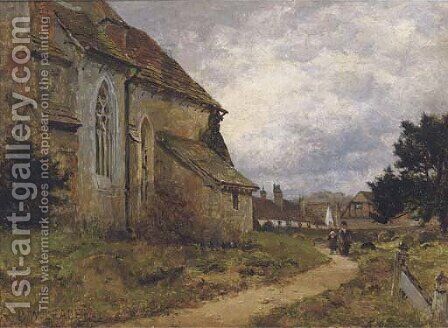 The village church, Shere, Surrey by Benjamin Williams Leader - Reproduction Oil Painting