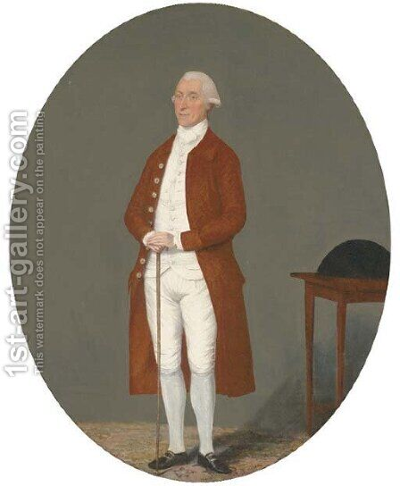 Portrait of a gentleman, full-length, in a brown coat and white waistcoat and breeches, holding a cane, a tricorn on a table beside him by Benjamin Wilson - Reproduction Oil Painting