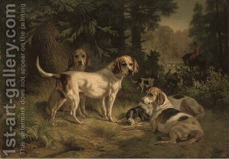Hounds resting in a woodland clearing with huntsmen beyond by Benno Adam - Reproduction Oil Painting