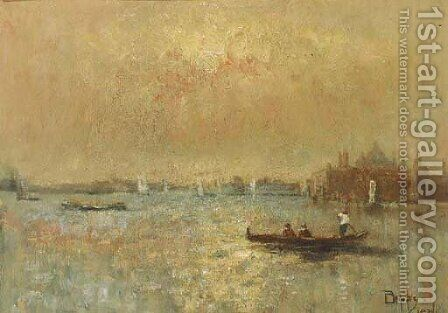 The Venetian lagoon by Beppe Ciardi - Reproduction Oil Painting