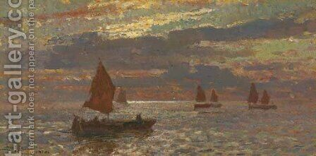 Tramonto in Laguna, Venezia by Beppe Ciardi - Reproduction Oil Painting