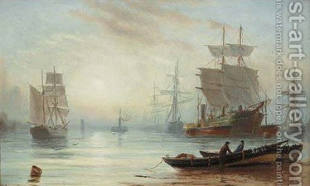 Shipping in a calm, early morning by Bernard Benedict Hemy - Reproduction Oil Painting