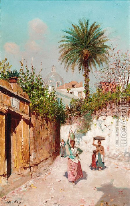 A Back Street, Capri by Bernard Hay - Reproduction Oil Painting