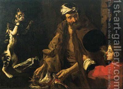 A fishmonger, a boy and a cat weighing a piece of ham on a set of scales by Bernhard Keil - Reproduction Oil Painting