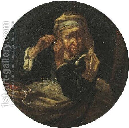 An old lady at her toilet by Bernhard Keil - Reproduction Oil Painting