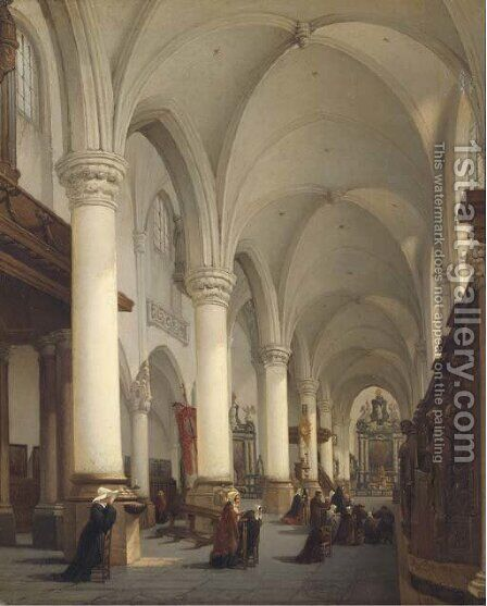 Interieur de l'Eglise Saint Paul d'Anvers a church interior with figures in prayer by Bernard Neyt - Reproduction Oil Painting