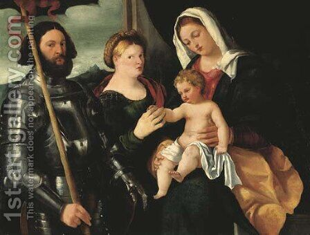 The Madonna and Child with Saints Catherine of Alexandria and George by Bernardino Licinio - Reproduction Oil Painting